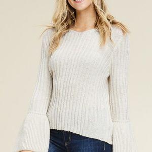white sweater ribbed v neck bell sleeves waist